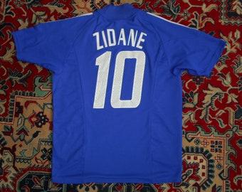 13594be5b Rare France 2002/04 #10 ZIDANE HOME 20 Adidas M shirt jersey maillot WC 02