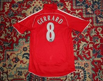 1ad6e4a81de Rare Liverpool FC 2006 2008  8 GERRARD HOME 20 Adidas S shirt jersey 06