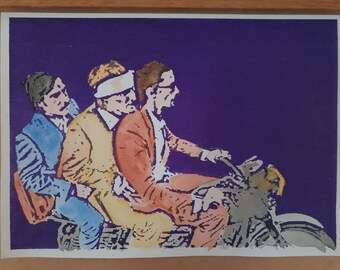 Not as brothers, but as people. A silkscreen / watercolour of a scene from Wes Anderson's film 'The Darjeeling Limited'.
