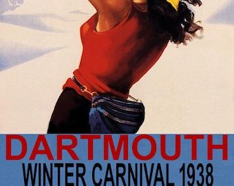 POSTER 1934 DARTMOUTH WINTER CARNIVAL SUN SKI MOUNTAINS VINTAGE REPRO FREE S//H