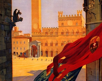 SIENA PLAZA PALAZZO PUBBLICO MEDIEVAL BUILDING ITALY TRAVEL VINTAGE POSTER REPRO