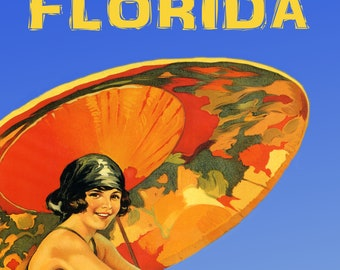 Florida Blond Girl Red Umbrella Beaches USA Travel Vintage Poster Repro FREE S//H