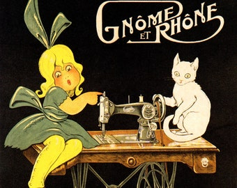 GNOME ET RHONE FRENCH SEWING MACHINE GIRL AND WHITE CAT VINTAGE POSTER REPRO