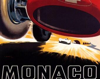 MONACO BUGATTI FASTEST ITALIAN CAR RACING GRAND PRIX RACE VINTAGE POSTER REPRO