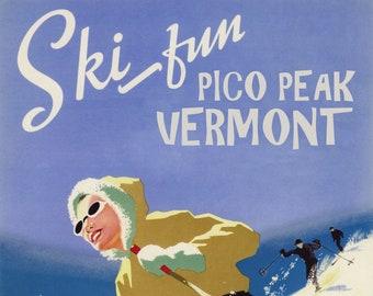 GIRL DOWNHILL SKIING SKI FUN PICO PEAK VERMONT WINTER SPORT VINTAGE POSTER REPRO