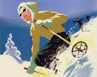 POSTER SKI IN THE SUN QUEBEC CANADA WINTER SPORT SKIING VINTAGE REPRO FREE S//H