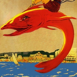 Enjoy The Ride Barbados Ocean Sea Beach Girl Riding Red Fish Travel Tourism Vintage Poster Repro FREE Shipping in USA Shipped Rolled-Up