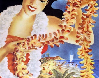 POSTER SUNSHINE BEACH HONOLULU HAWAII GIRL SUN SAIL TRAVEL VINTAGE REPRO FREE SH