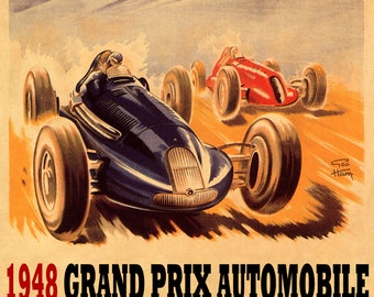 ITALY BIANCHI AUTOMOBILE CAR RACING SPEED RACE ITALIAN VINTAGE POSTER REPRO