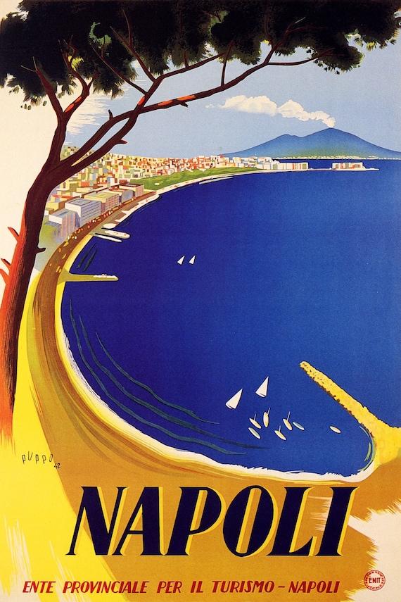 THE BAY OF NAPLES NAPOLI ITALY CAMPAGNIA PAINTING ART REAL CANVAS GICLEEPRINT