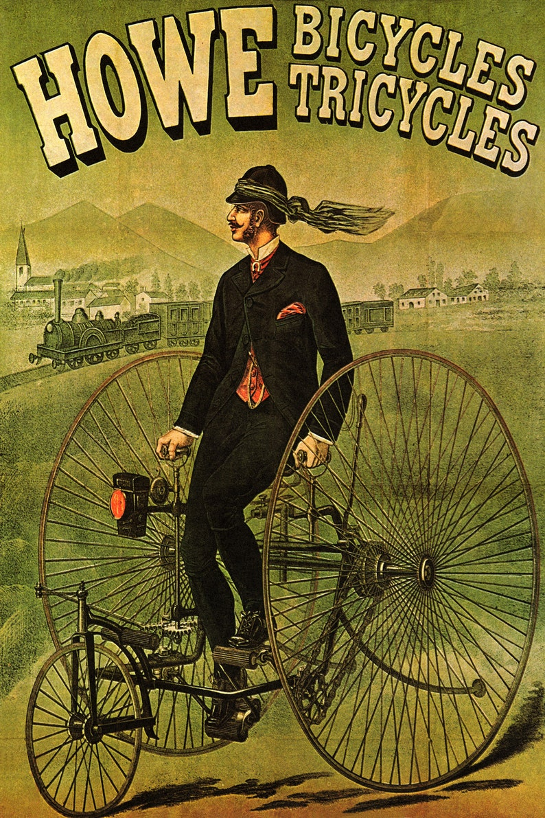 Bicycle Bike Cycle Wowe Tricycles Cycling Sport Vintage Poster Repro FREE Shipping in USA Shipped Rolled-Up