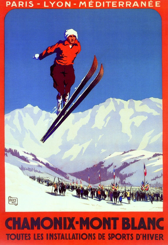 DOWNHILL MOUNTAIN SKIING SKI IN CHAMONIX MONT-BLANC FRANCE VINTAGE POSTER REPRO