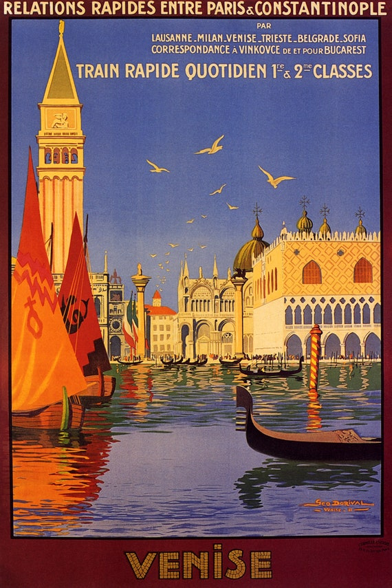 VENISE RELATIONS RAPIDE vintage poster  print on Paper or Canvas Giclee