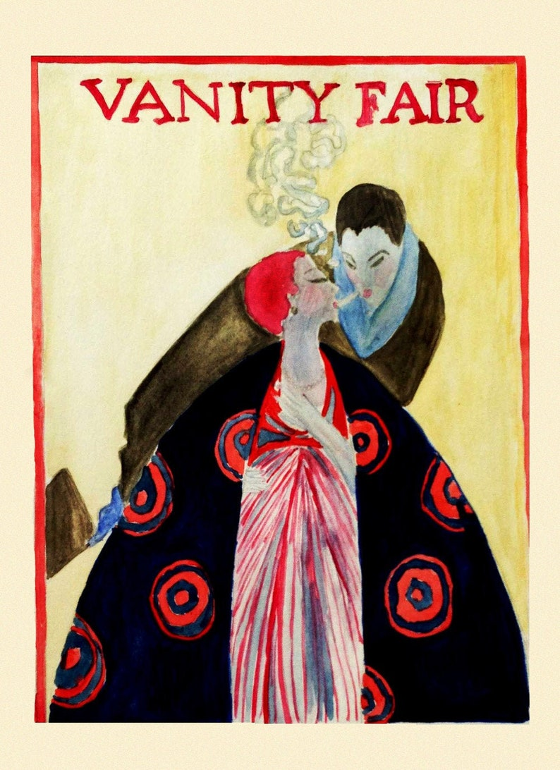 Vanity Fair Magazine Cover Fashion Couple Smoking Home Wall Decor Vintage Poster Repro FREE Shipping in USA Ship Rolled-Up