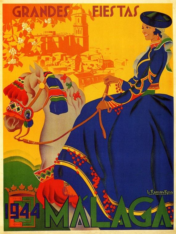 Malaga Spain Fashion Dance 1933 Travel Tourism Vintage Poster Repro FREE SHIP