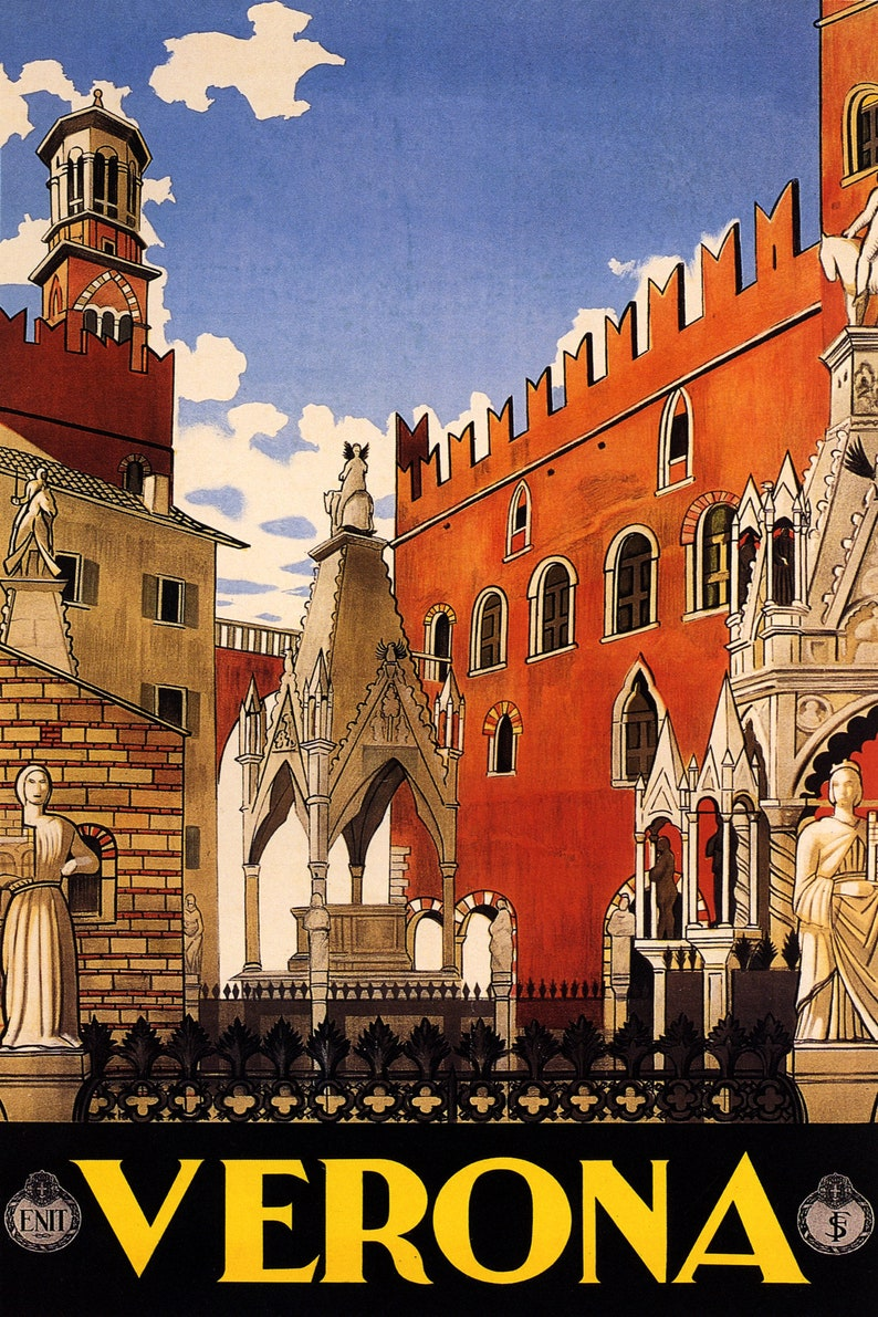 Verona Medieval Old Town Veneto Italy Travel Tourism Vintage Poster Repro FREE Shipping in USA Shipped Rolled-Up