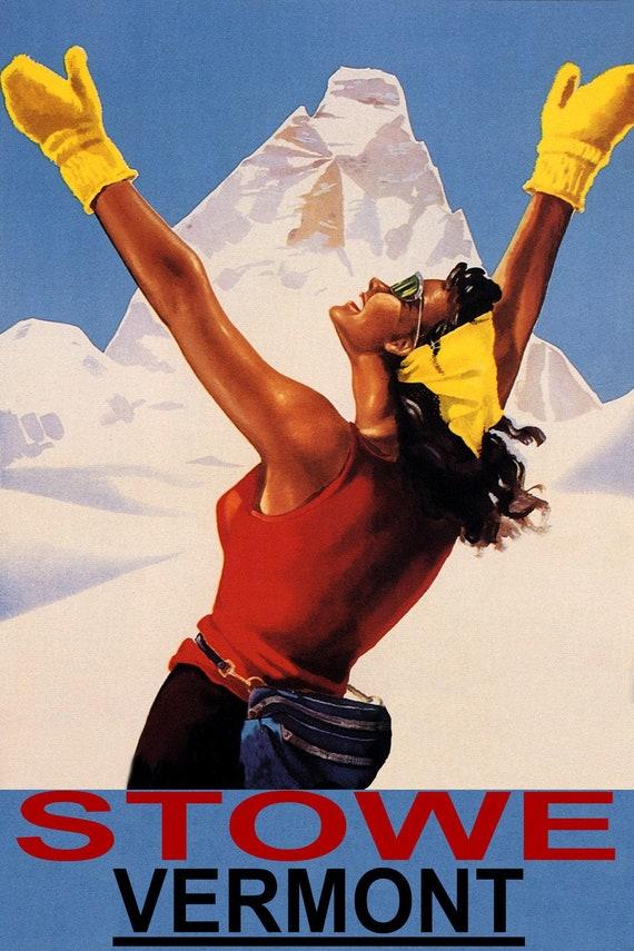 Stowe Vermont Ski Winter Sport Travel Tourism Vintage Poster Repro FREE SHIP USA