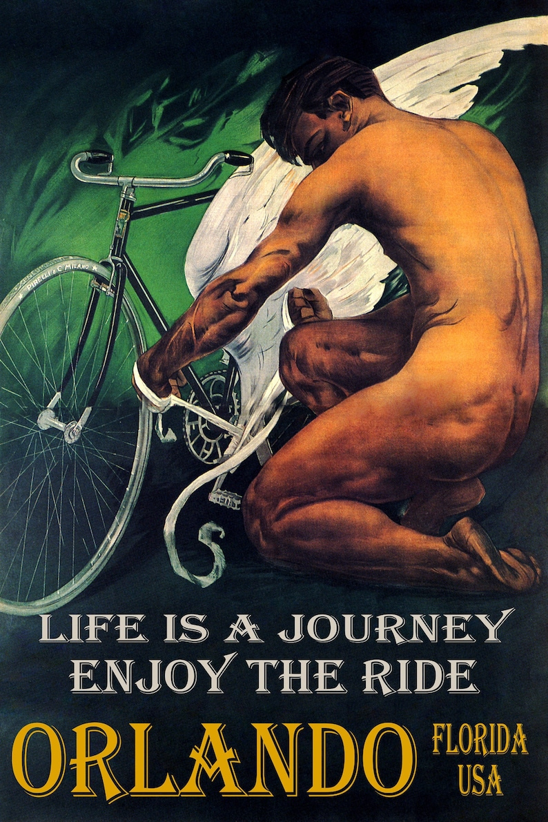 Bicycle Orlando Florida USA Cycling Life is a Journey Enjoy the Ride Bike Vintage Poster Repro FREE Shipping in USA Shipped Rolled-Up