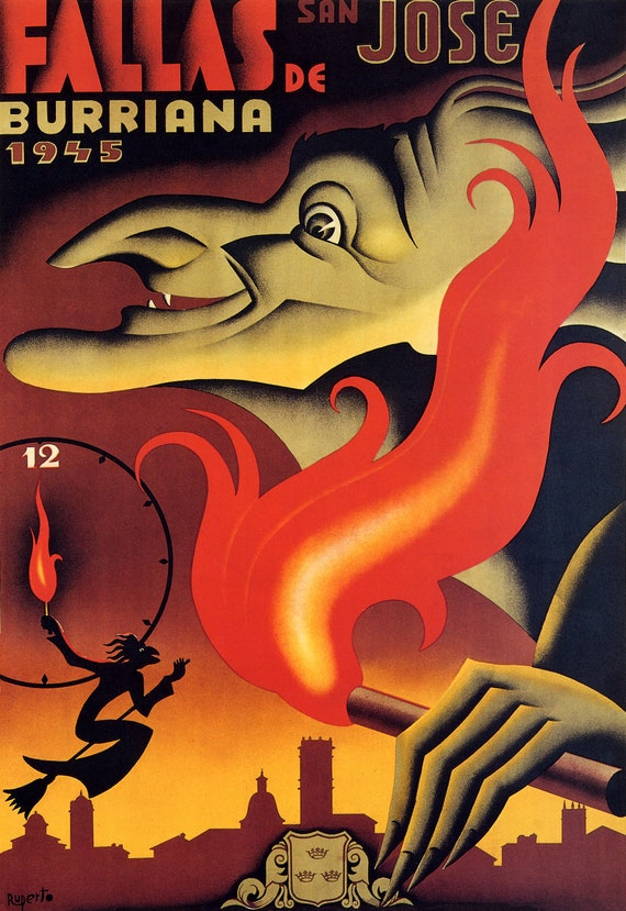 Vintage Art Deco Poster Las Fallas Valencia Spanish Festival 1930s Fireworks