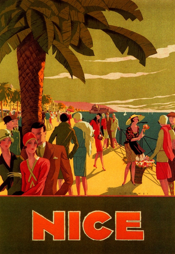 France La Cote D/'Azur French Riviera  Travel Vintage Poster Repro FREE SH in USA