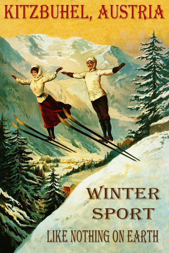 Ski Skiing Kitzbuhel Austria Vintage Lady Poster Reproduction FREE SHIP in USA