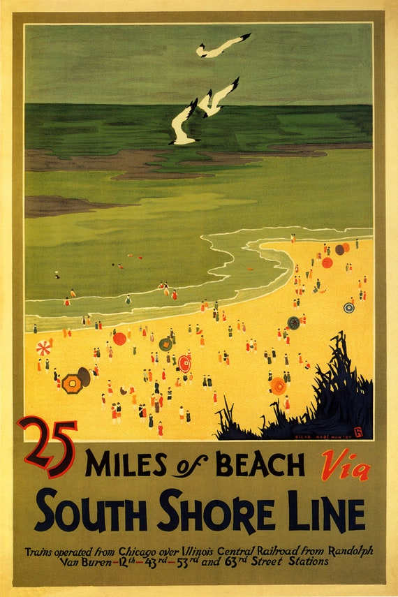 Merry Christmans by South Shore Line vintage train travel poster repro 12x18