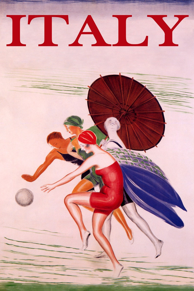 Sunshine Italy Beach Happy Girl Playing Ball Travel Tourism Ocean Sea Vintage Poster Repro FREE Shipping in USA Shipped Rolled-Up