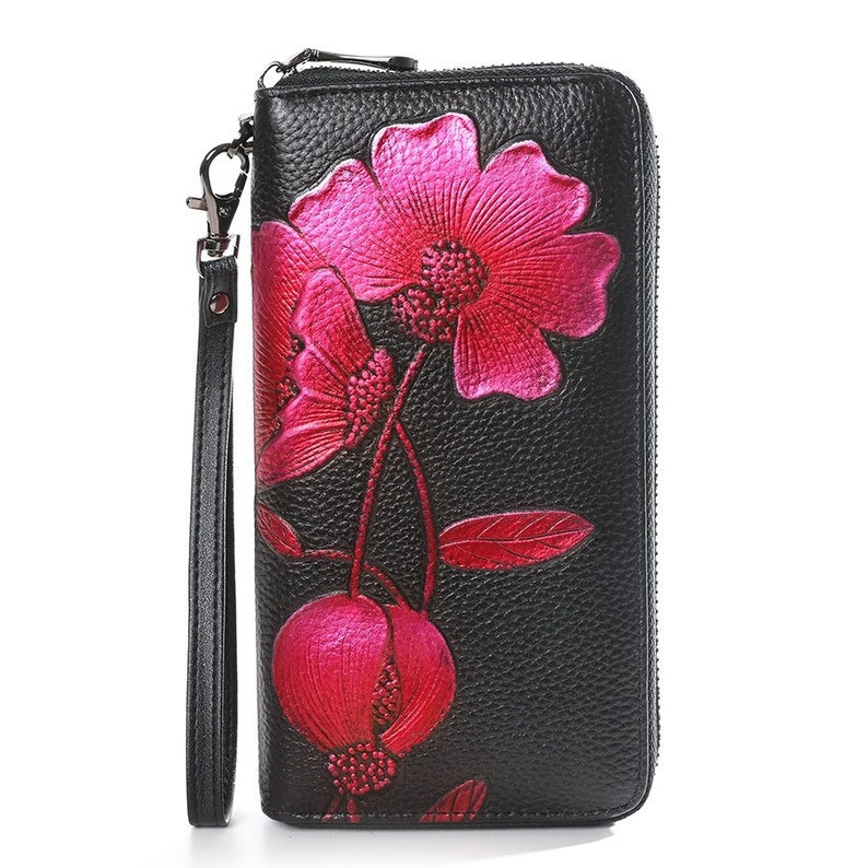 cow leather women wallets long genuine leather purse female floral clutch wallet large capacity card holder and phone bag