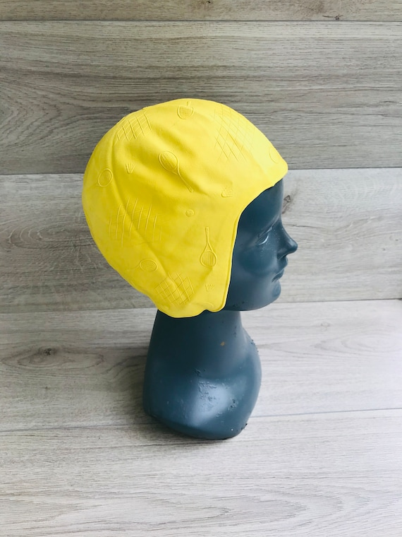 Vintage swimming cap Bathing cap Yellow pattern ru