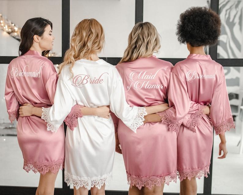 Morgenmäntel Hochzeit personalisiert, Brautjungfern Geschenke, Geschenke Trauzeugin