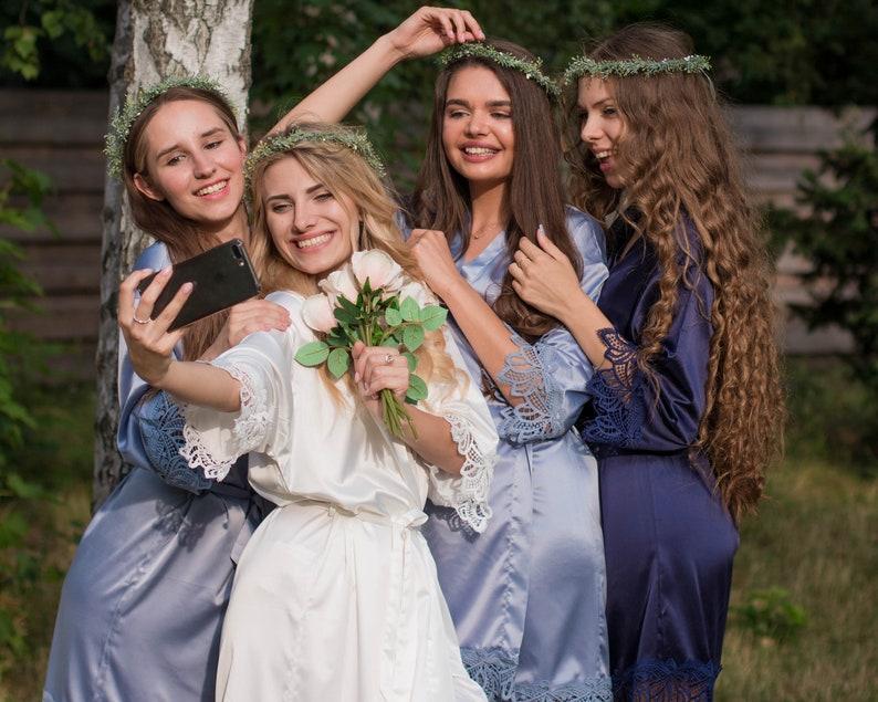 Lace Bridal RobesNavy Bridesmaid RobesBride RobeBridal Party RobeSatin RobeWedding RobeSilk Dressing GownWoman RobeKimono RobeWhite