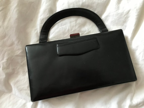 Black leather 1930s box bag
