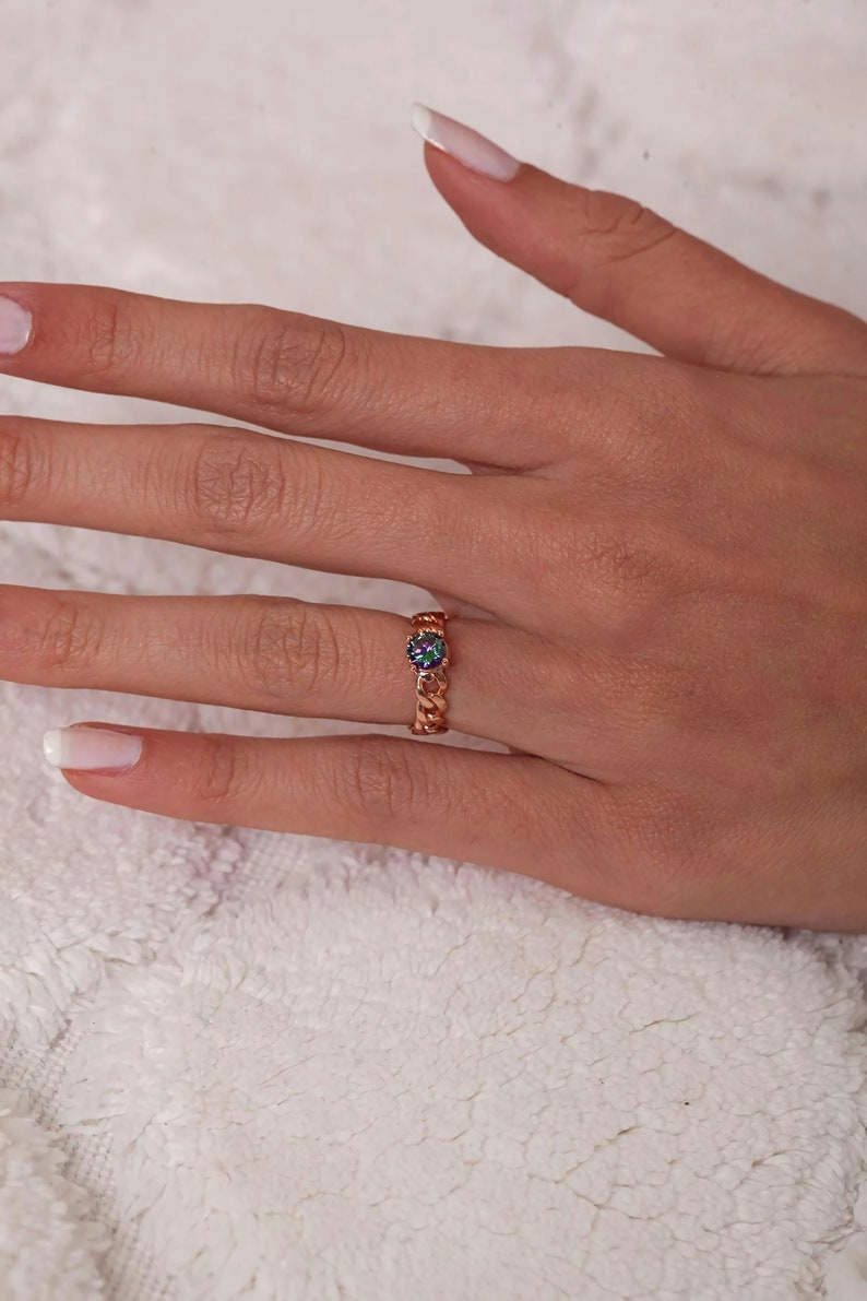Chain Model Rose Minimal Ring with Mystic Topaz Stone 925 Sterling Silver for Women Stacking Fashion Adjustable Rings Jewelry Handmade Gift