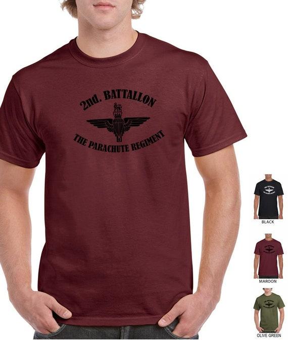 Regimiento paracaidista británico 100/% algodón preencogido Camiseta gran impresión Negro