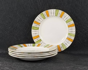 5 Vintage Broadhurst Kathie Winkle Viscount Bread and Butter Side Plates Ironstone Hand Painted England