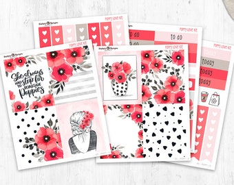 Poppy Love - Mini Kit Weekly planner stickers (5 sheets) - for Happy Planner and Erin Condren