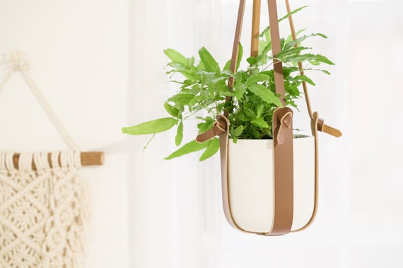 Stylish Hanging Planter For Indoor Plants Hanging Leather Etsy