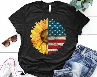 e7a0b8a6 Sunlower usa flag shirt - sunflower design-4th of july shirt-independence  day - Gift for mom - Birthday gift - Sunflower America Unisex Tank