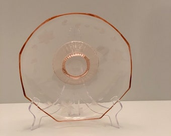 Pink Depression Glass Footed Desert Bowl 9.5 x 2.5