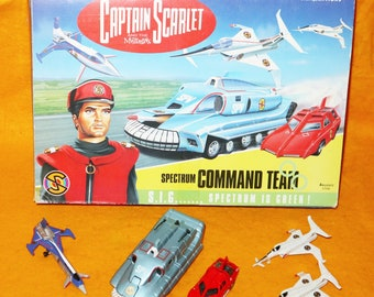 Vintage 1993 Vivid Imaginations Captain Scarlet And The Mysterions 51006 Command Team Vehicle Set Complete Boxed Gerry Anderson