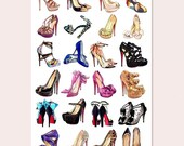 christian louboutin, Valentino, jimmy choo shoes journal stickers.