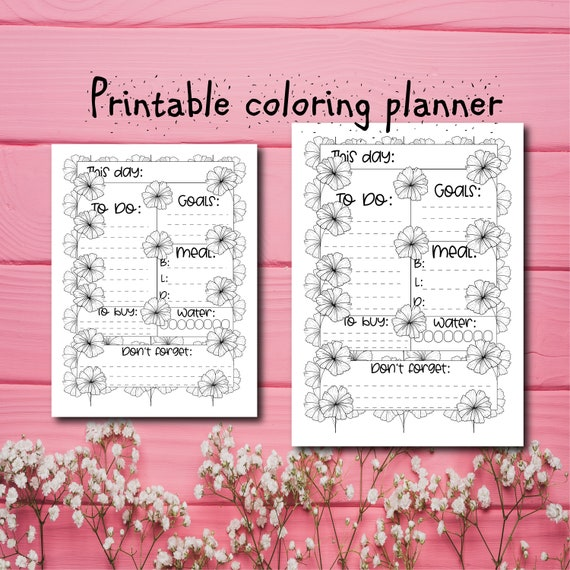 Printable floral coloring daily planner and adult coloring page.A4/US  letter printable floral daily to do list.