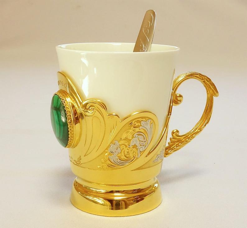 个性化杯孔雀石咖啡杯