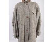 Vintage Mackintosh New England Womens Tweed Coat 12 Wool Gray White Herringbone