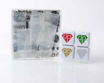 Diamond Press Christmas Dies Thinlits /& Ink Stamps Lot Happy Holidays Mittens