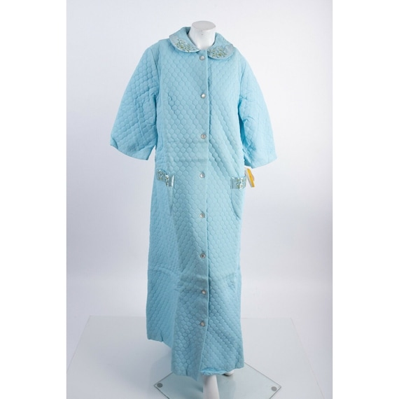 Vintage 1950s Millay Womens Quilted Blue Housecoat