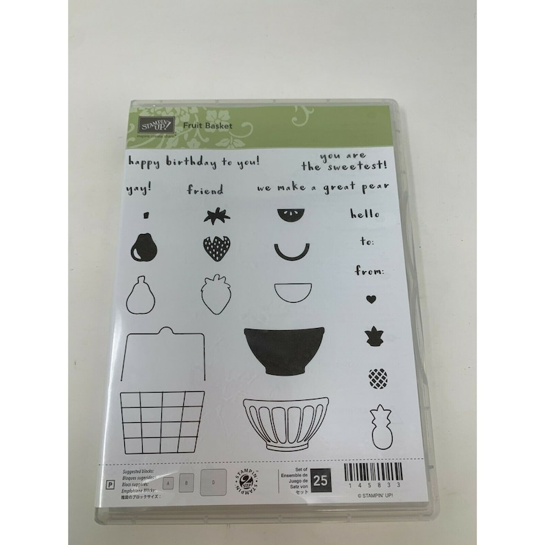 Stampin Up Fruit Basket set of 25 Stamps Photopolymer Strawberry Pears Pineapple