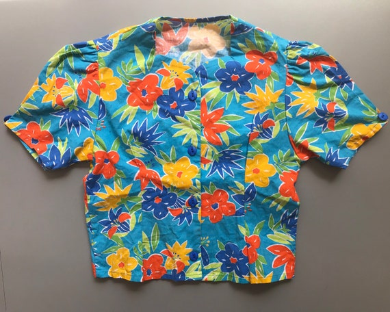 Vintage Print blouse 90s Tiki Tropical floral blouse blue and pink 40s style print blouse S M