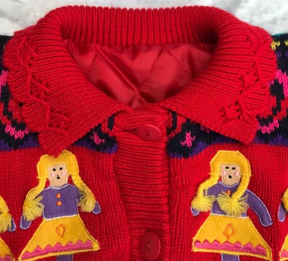 Bright vintage 1990s stripe knit jumper 5-6 years girl sweater retro