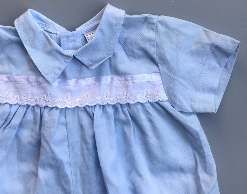 Vintage baby boy all in one romper playsuit 6-9 months 1980s boy blue boats embroidered